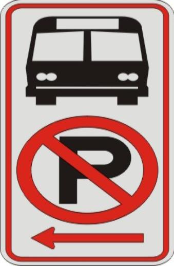No Parking Symbol & Bus Symbol with Left Arrow sign R7-107a