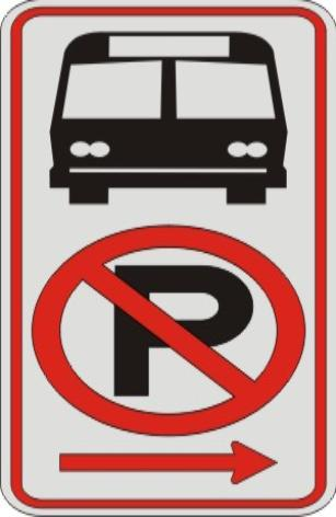 No Parking Symbol & Bus Symbol with right arrow sign R7-107a