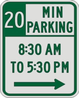 20 MIN PARKING with Times & Right Arrow sign R7-108b